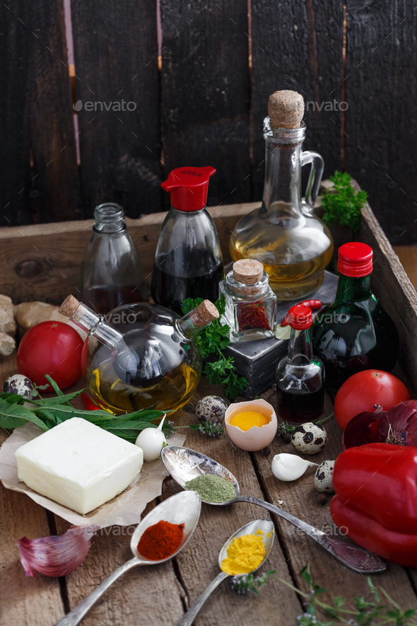 Big set of sauces and spices, with vegetables - Stock Photo - Images
