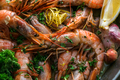 Many roasted tiger prawns shrimps background, close view - PhotoDune Item for Sale