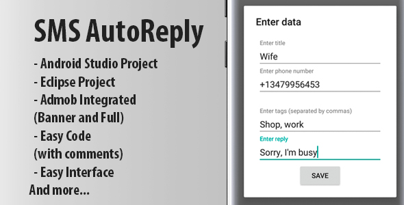Autoreply app + Admob Ads (Android Studio) - CodeCanyon Item for Sale