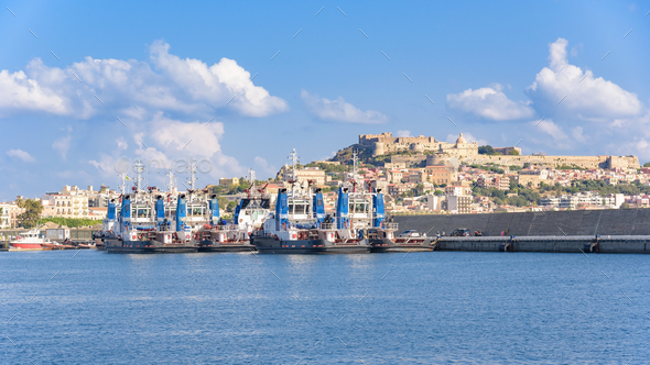 Tugs in the port of Milazzo - Stock Photo - Images
