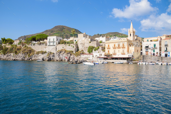 Lipari town seen from the sea - Stock Photo - Images