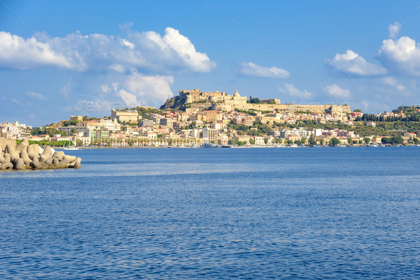 View of Milazzo town from the sea - Stock Photo - Images