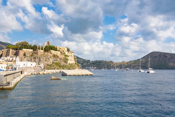 Castle rock on Lipari Island - Stock Photo - Images