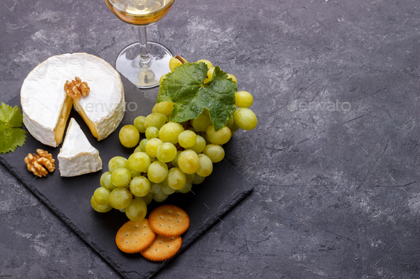 Cheese brie and wine - Stock Photo - Images
