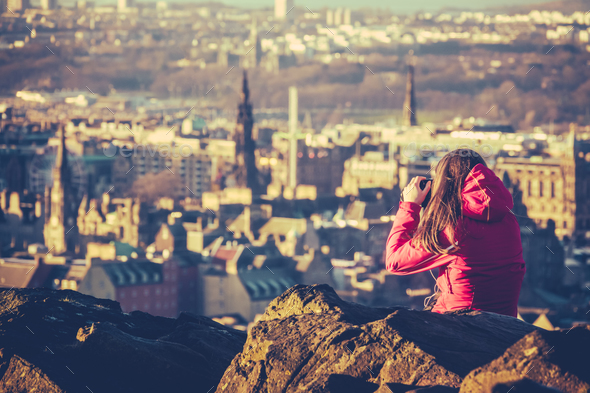 Young Woman Tourist In Scotland - Stock Photo - Images