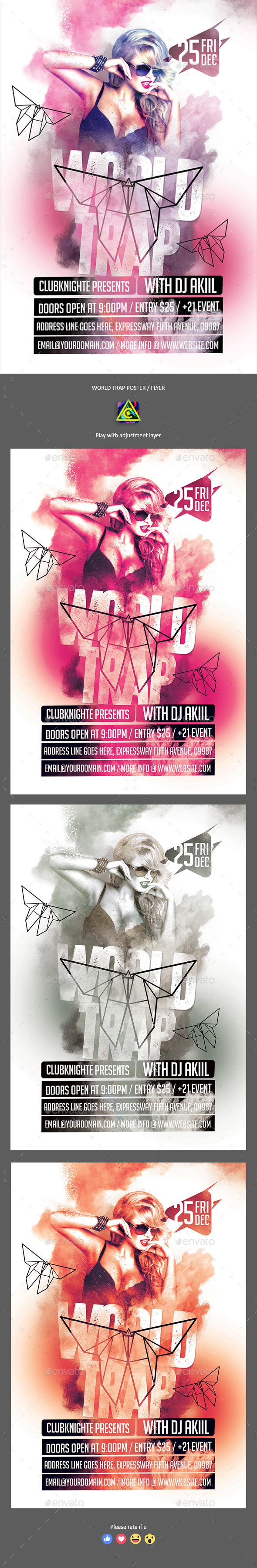 World Trap Poster / Flyer - Clubs & Parties Events