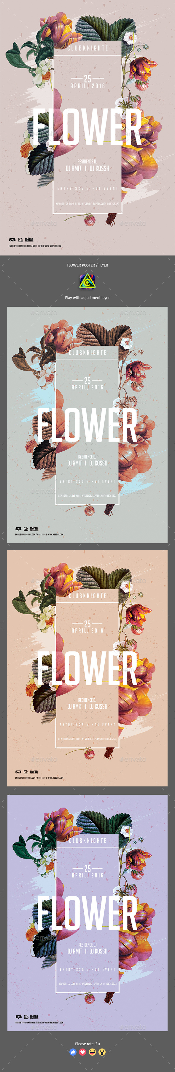 Flower Poster / Flyer - Clubs & Parties Events