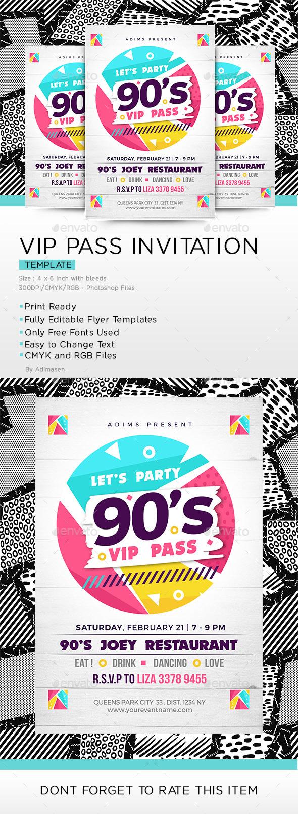 90's party VIP pass Invitation - Invitations Cards & Invites