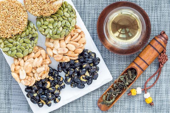 Korean traditional sweet snacks. Healthy energy snacks. Top view, horizontal - Stock Photo - Images