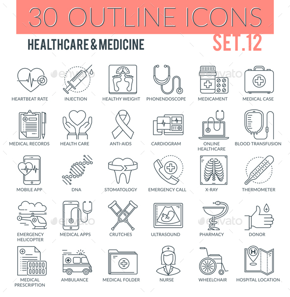 Healthcare & Medicine Outline Icons - Web Icons