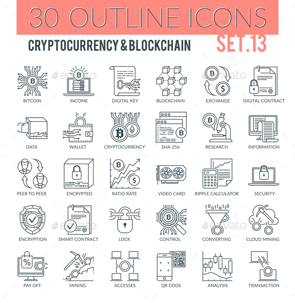 Cryptocurrency & Blockchain Outline Icons - Technology Icons