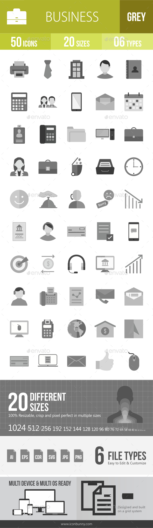 50 Business & Finance Grey Scale Icons - Icons