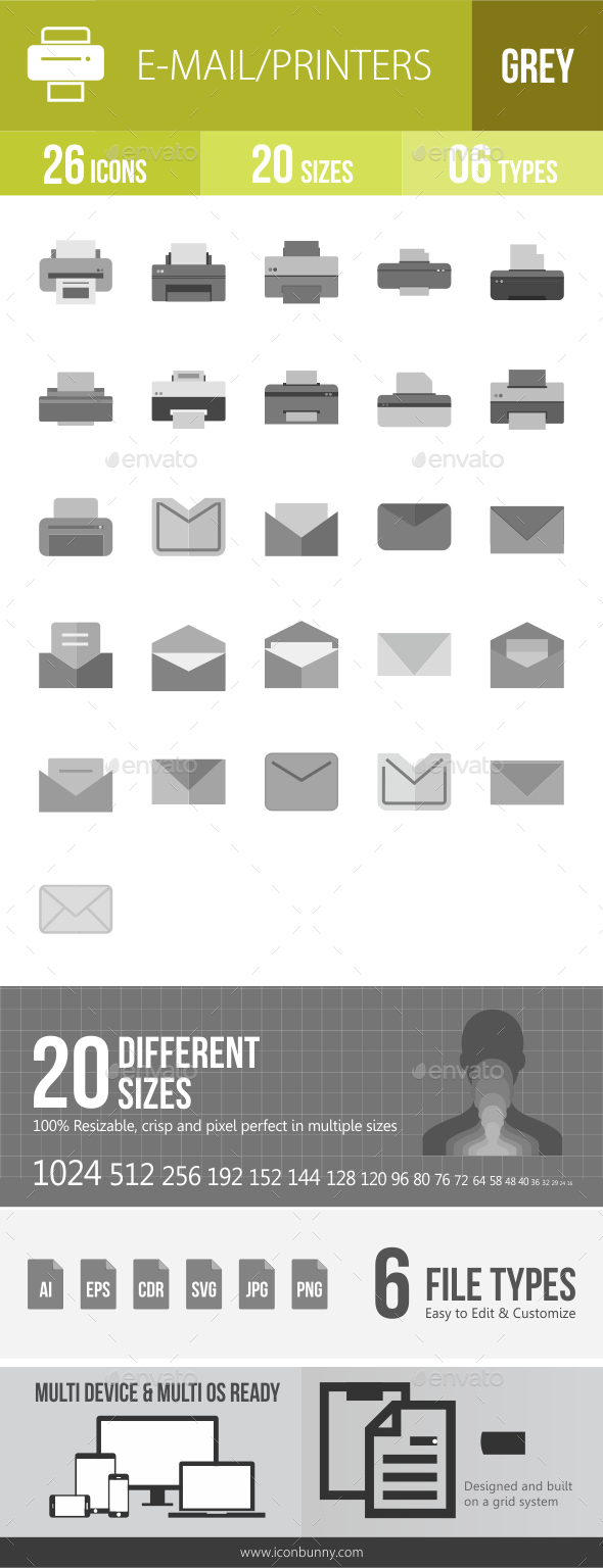26 Email & Printer Grey Scale Icons - Icons