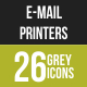 26 Email & Printer Grey Scale Icons