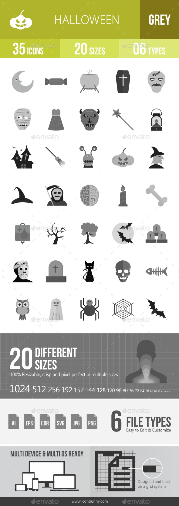 35 Halloween Grey Scale Icons - Icons