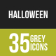 35 Halloween Grey Scale Icons