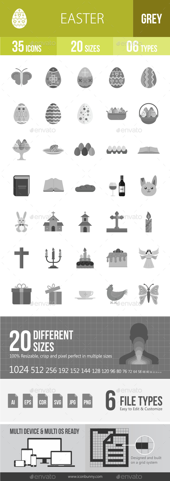 35 Easter Grey Scale Icons - Icons