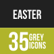 35 Easter Grey Scale Icons