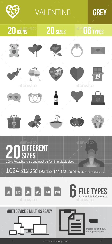 20 Valentine Grey Scale Icons - Icons