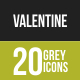 20 Valentine Grey Scale Icons - GraphicRiver Item for Sale