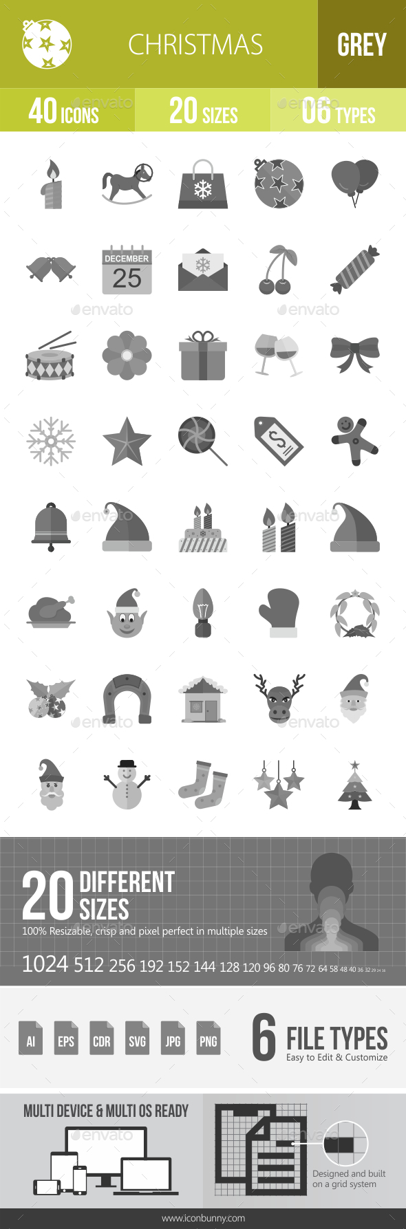 40 Christmas Grey Scale Icons - Icons