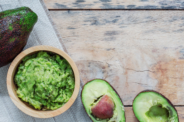 Avocado on wooden floor - Stock Photo - Images