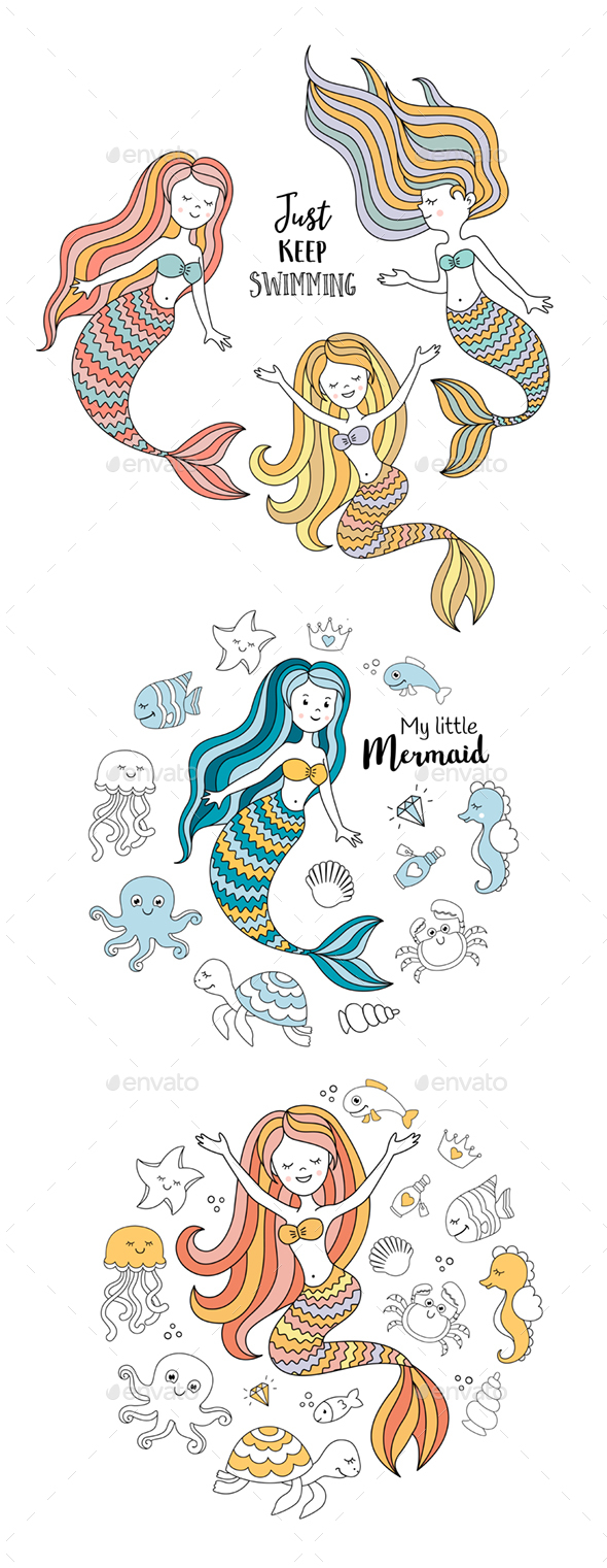 Mermaids Vector Set - Miscellaneous Characters