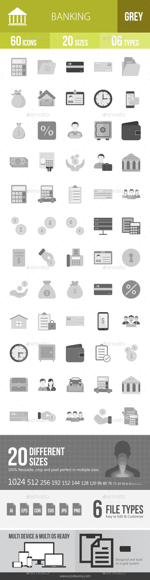 60 Banking Grey Scale Icons - Icons