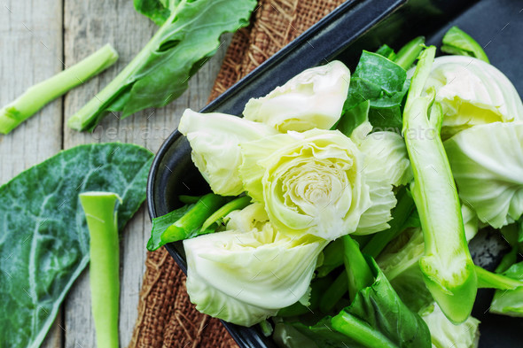 Cut the cabbage in a tray - Stock Photo - Images