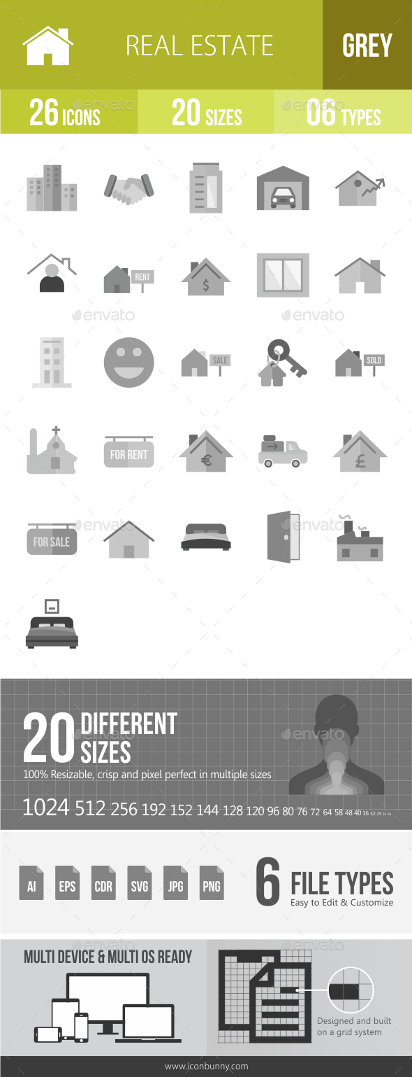 26 Real Estate Grey Scale Icons - Icons