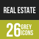 26 Real Estate Grey Scale Icons - GraphicRiver Item for Sale