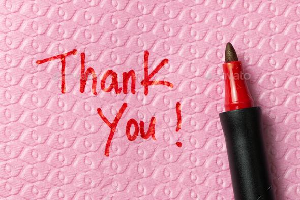 Thank you phase on napkin - Stock Photo - Images