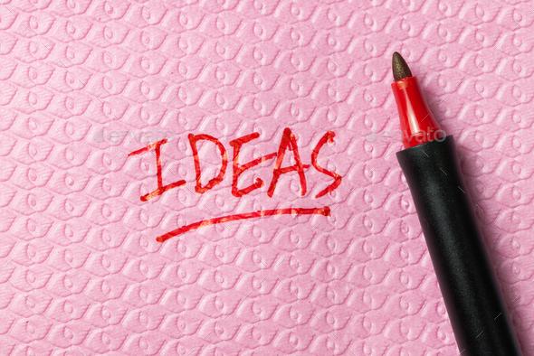 Ideas word written on napkin - Stock Photo - Images