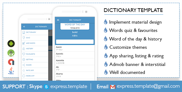 Dictionary Template for Android - Word of the day, word quiz, themes & more! - CodeCanyon Item for Sale