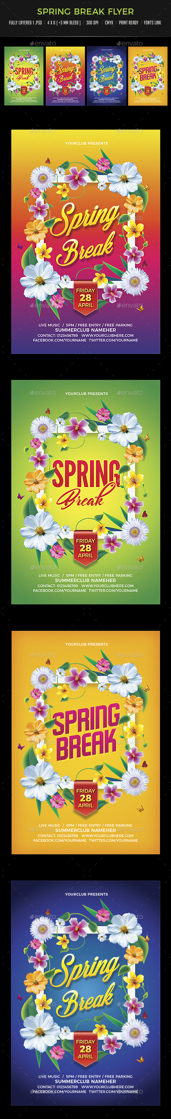 Spring Break / Summer Party Flyer - Clubs & Parties Events