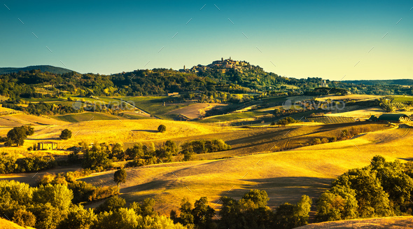 Tuscany summer, Montepulciano medieval village. Siena, Italy - Stock Photo - Images