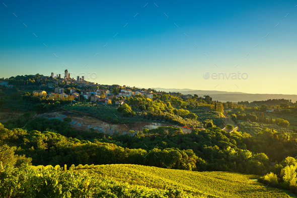 San Gimignano panoramic medieval town towers skyline and vineyar - Stock Photo - Images