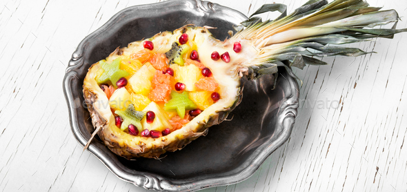 Fruit salad in pineapple - Stock Photo - Images