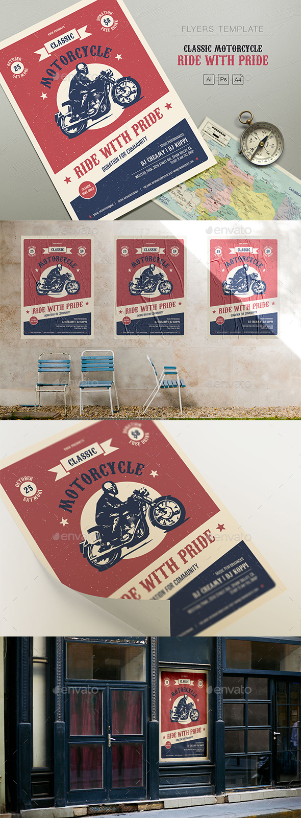 Classic Motorcycle - Ride with Pride Flyers - Events Flyers