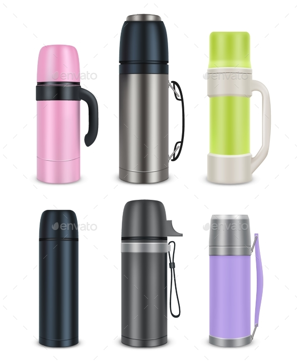 Thermos Mock-Up Set - Miscellaneous Vectors