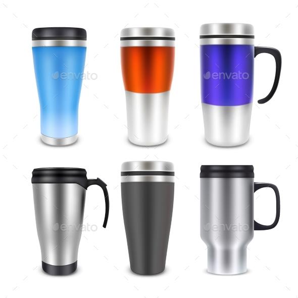 Thermo Cup Travel Mug Mock-up Set - Miscellaneous Vectors