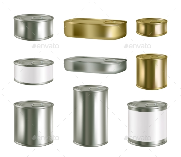 Vector Canned Food Realistic Blank Metal Package - Food Objects