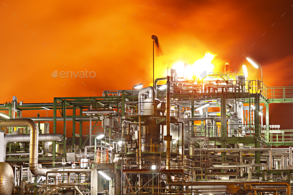 Fire In A Refinery - Stock Photo - Images