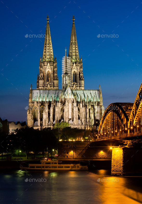 Cologne Cathedral At Night, Germany - Stock Photo - Images