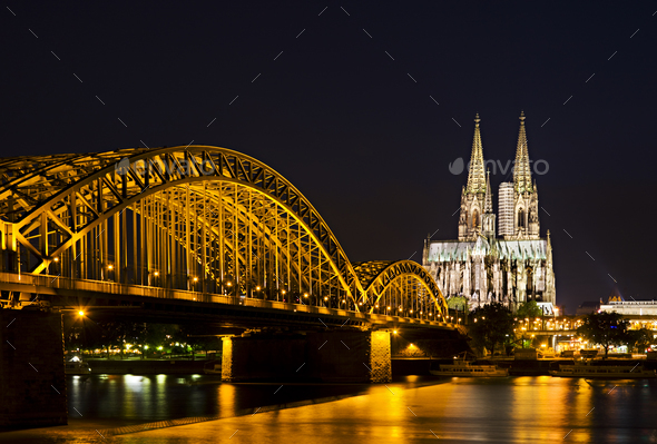 Cologne Cathedral And Bridge, Germany - Stock Photo - Images