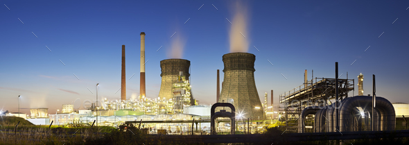 Refinery Panorama At Night - Stock Photo - Images