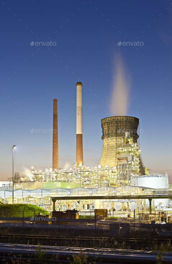 Colorful Oil Refinery At Night - Stock Photo - Images