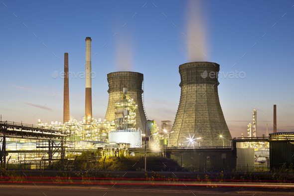 Oil Refinery At Night - Stock Photo - Images