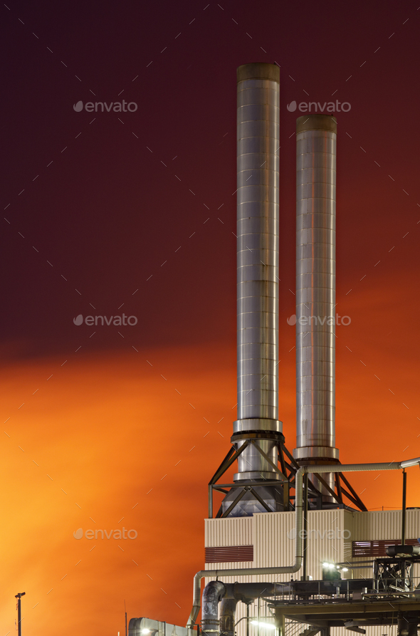 Red Industry At Night - Stock Photo - Images