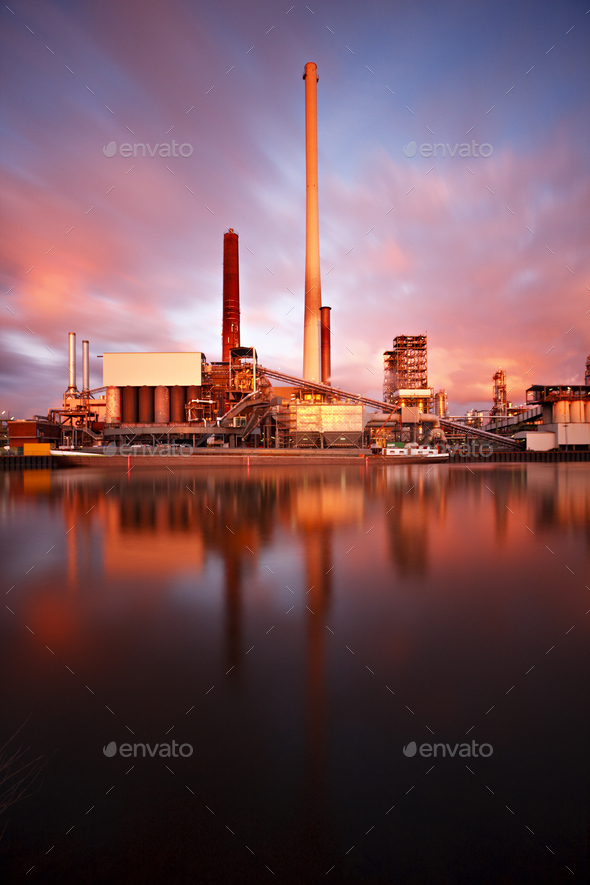 Refinery Daytime Long Exposure - Stock Photo - Images